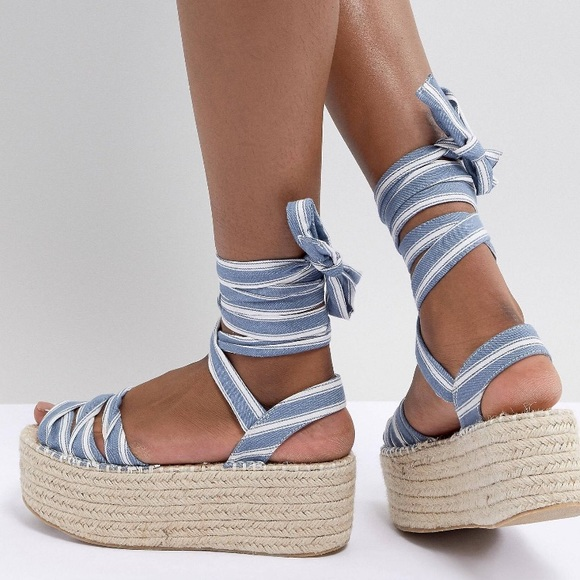 Asos Platform Sandals Ankle Ties